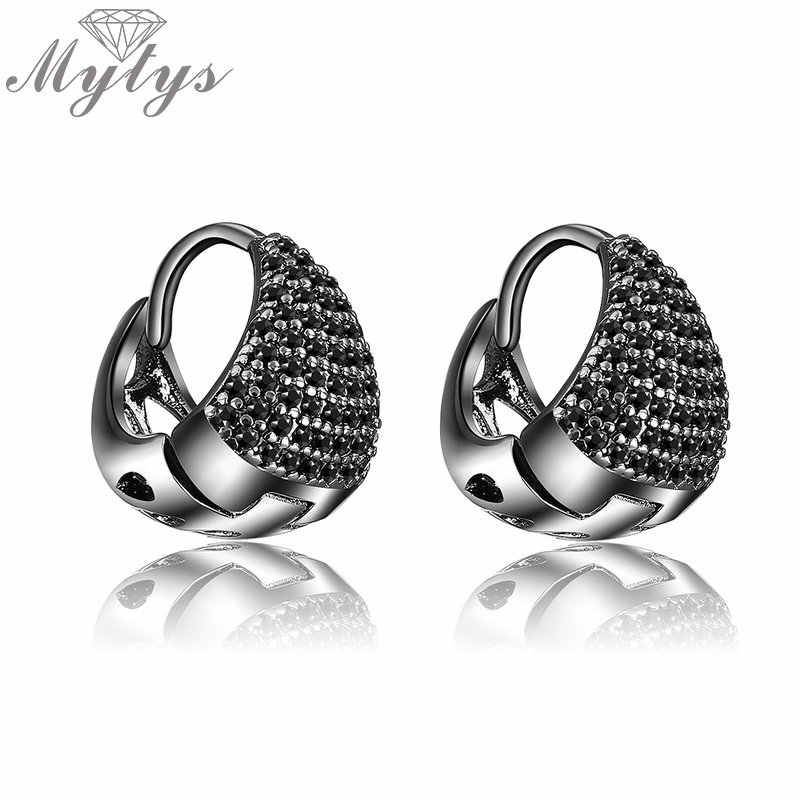 Mytys 15mm Small Hoop Earrings Black Marcasite Titanium Jewelry Exquisite Earrings Fashion High Quality Party Accessory CE534
