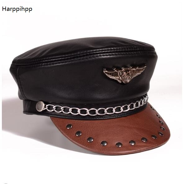 2017 new arrival fashion Leather hat men and women winter cowhide flat capr  harley motorcycle cap black Germany military caps 1b6ae0eb8841