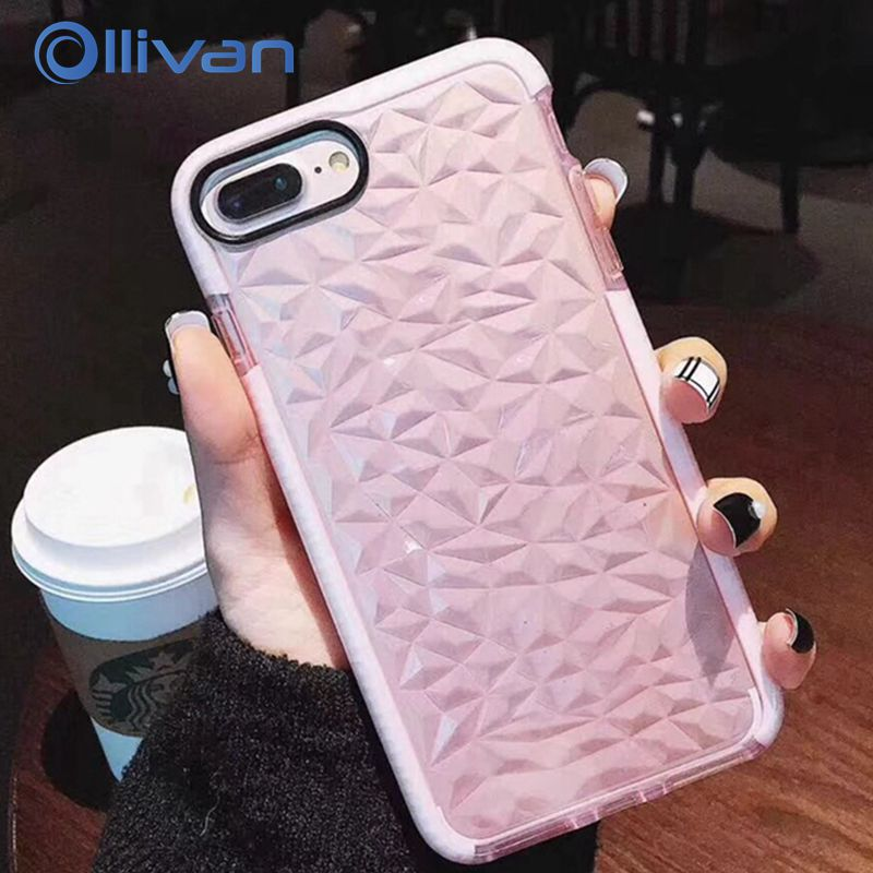 OLLIVAN 3D Texture Luxury Case For Iphone 7 Plus X 8 6S Transparent Silicon Full Protection Phone cases For Iphone X Shockproof