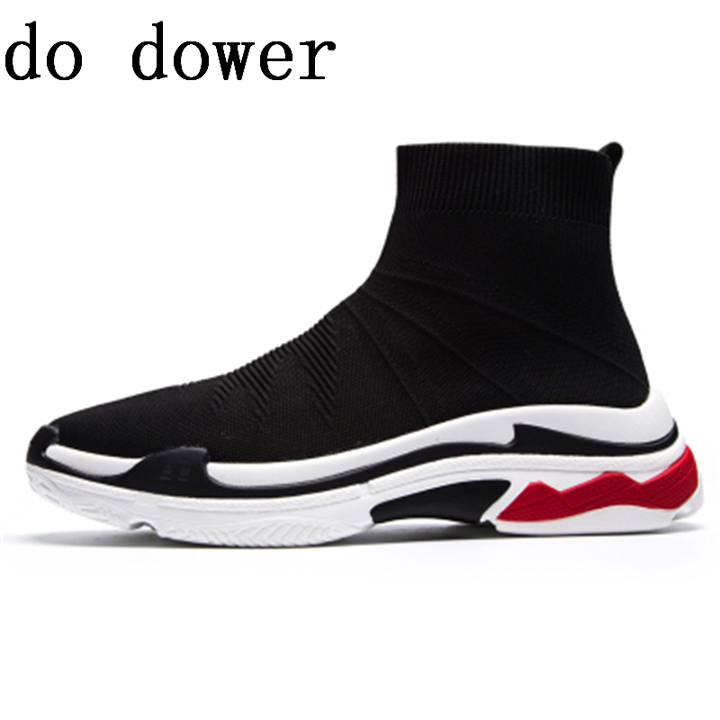 New Men Sock Shoes Luxury Trainers Summer Male Adult Knitting Slip-On Shoes Flats Spring Black Sriped Shoes цена 2017