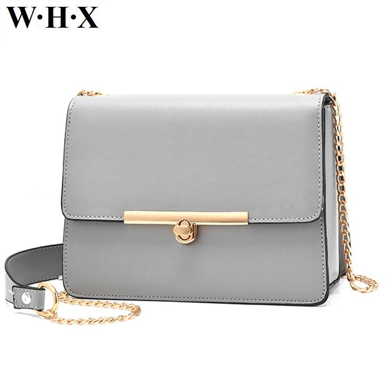 WHX Золотая цепь искусственная кожа Для женщин сумка женская Сумки серый Сумка Сумки через плечо для леди кошелек модная одежда для девочек
