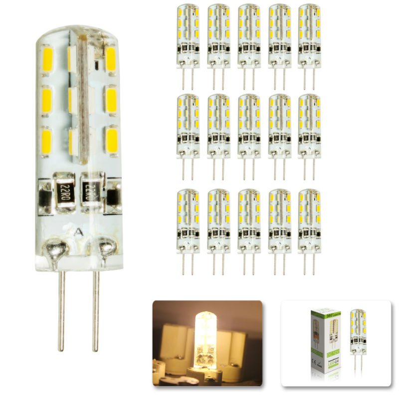 15 pcs/lot <font><b>G4</b></font> DC12V <font><b>3W</b></font> LED Bulb 24leds SMD 3014 Led Corn Lamp for Crystal Lamp LED Spotlight Bulbs Warm Cold White image