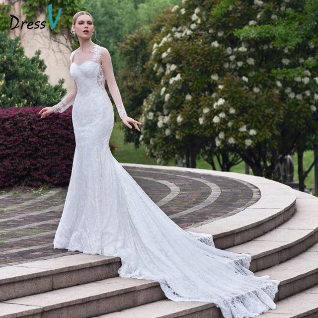 2c4f0a6500b Dressv blanc dentelle sirène Chapelle train robe de mariée chérie appliques  trompette manches longues en dentelle