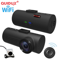 QUIDUX 2018 wifi GPS OBD ADAS Car DVR Car Camera Dash Cam Wireless Dual lens Video Recorder Dual Camera 1080P Full HD 165 Degree