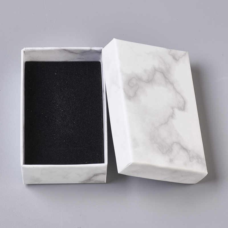 Paquete de papel negro caso Anillo Collar Aretes Pulsera Joyería Caja de Regalo 0cn