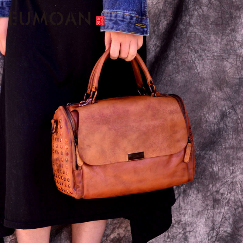EUMOAN Vintage original personnalité cuir sac à main rivet sac à main lingette couleur peau de vache sac à main femme tendance Messenger sac