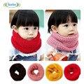 Nuevo Diseño de Los Bebés de Invierno Pañuelo Para El Cuello Caliente Suave Girls Color Del Caramelo de Cuello Babero Bufandas Niños de Punto Bufanda de Cuello