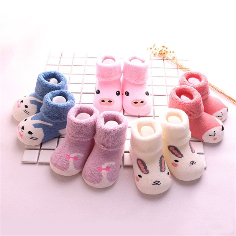 5 Pairs Lot Cartoon Newborn Baby Girls Boys Anti Slip Socks Infant Soft Baby Boy Shoes Warm Winter Socks for 0 3 Years Old Baby in Socks from Mother Kids