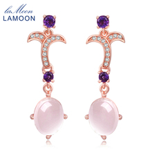 Фотография LAMOON 7X9mm 100% Natural Oval Pink Rose Quartz 925 Sterling Silver Jewelry Drop Earrings S925 fine jewelry for woman LMEI010
