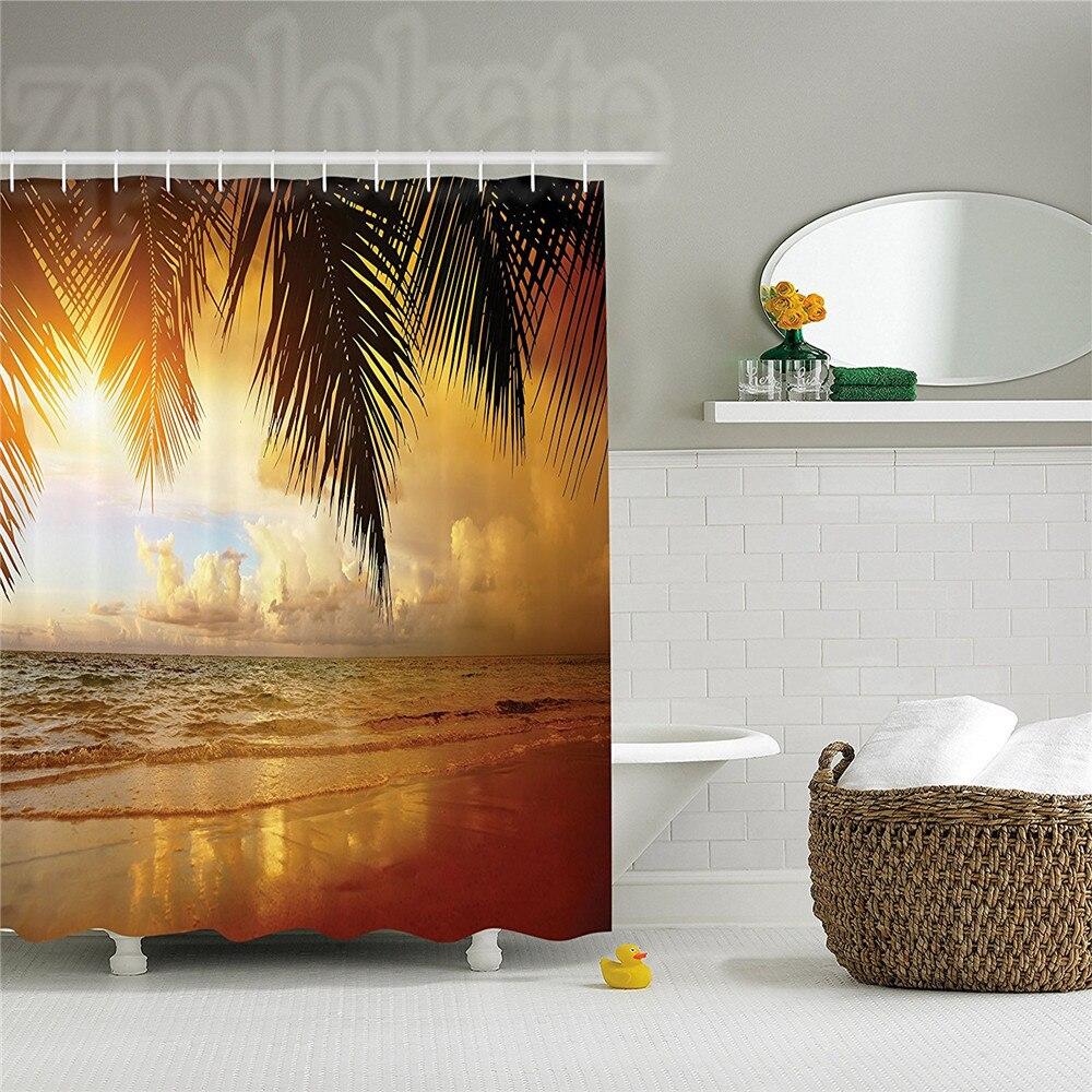 Ocean Decor Shower Curtain Set Sunset On The Beach Of Caribbean Sea Coast Bathroom Accessories