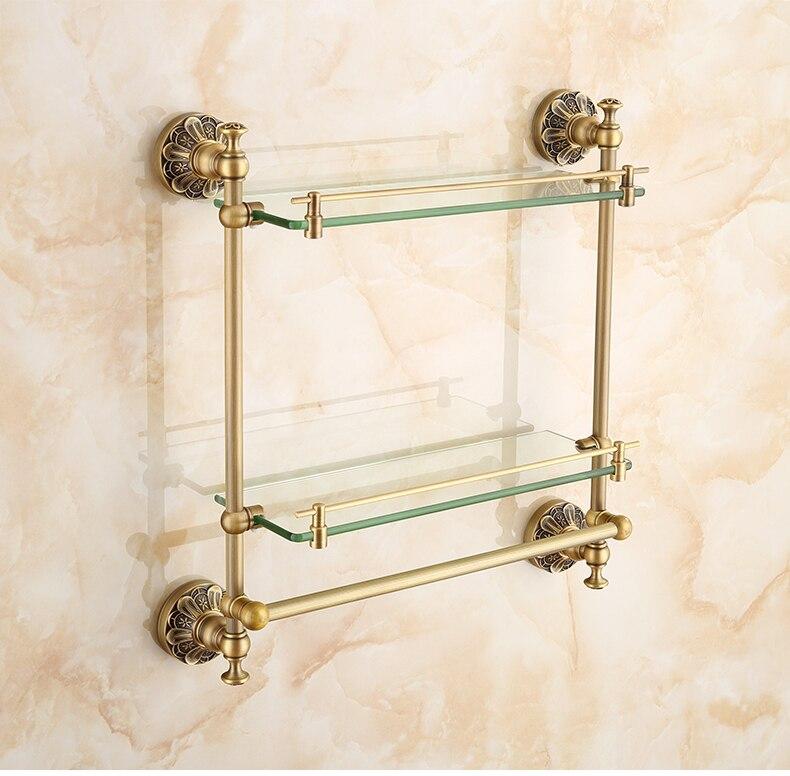 Prateleira de vidro dobro do banheiro com barra de toalha