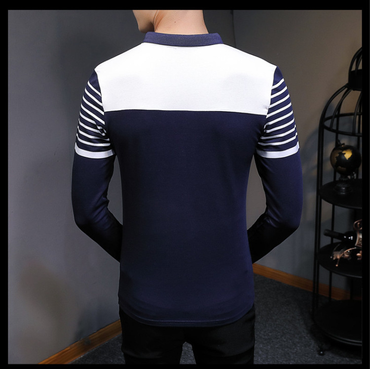 Business Casual Long Sleeve Men Polo Shirt Striped Autumn Winter Polos Cotton Slim Fit Camisa Polo Masculina 76