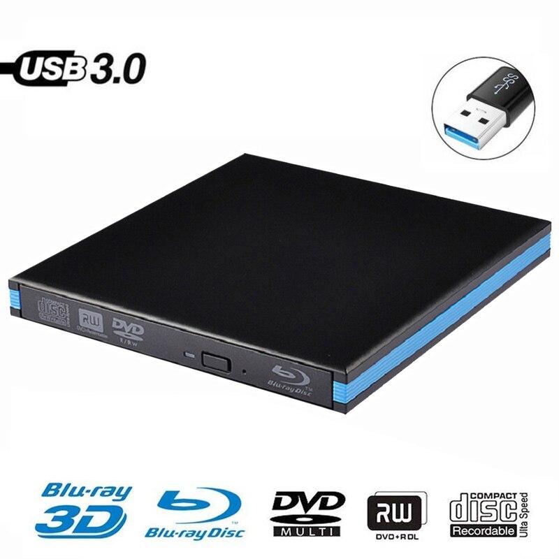 USB 3.0 DVD Player Bluray Burner External Optical Drive BD-RE Blu-ray Superdrive CD/DVD RW Writer Recorder For Laptop PC HP ACER