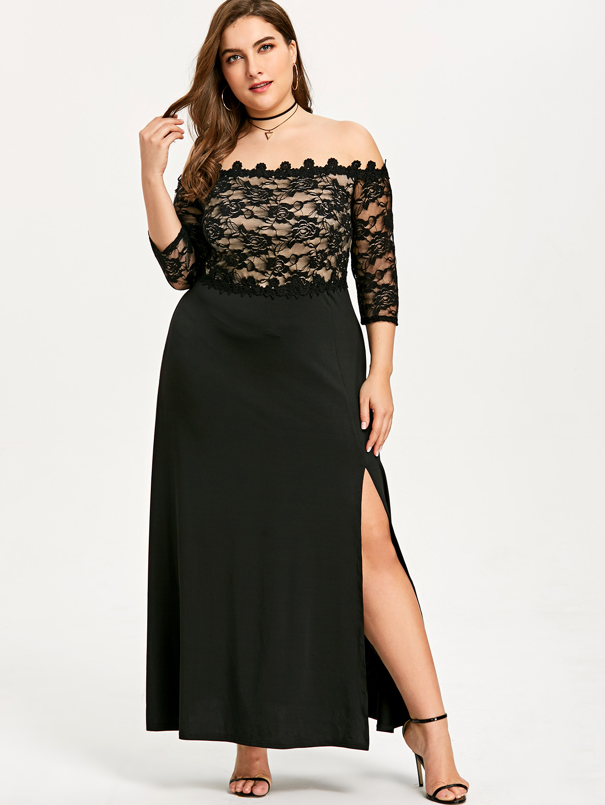 Gamiss Plus Size Slit Off Shoulder Maxi Dress Women 3/4 ...