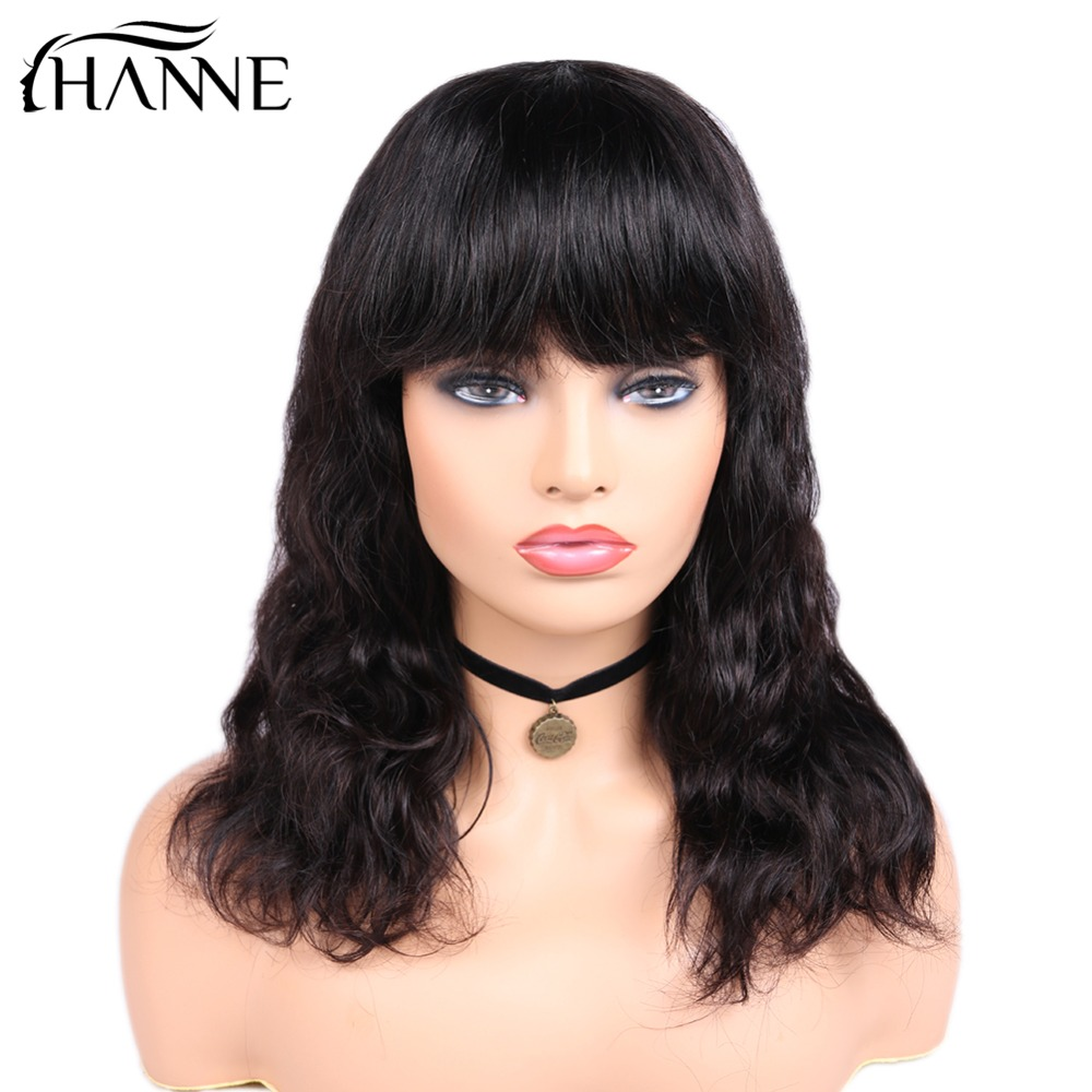 HANNE Hair Brazilian Body Wave Human Hair Wigs With Bangs Natural Black Color 12 18 inches