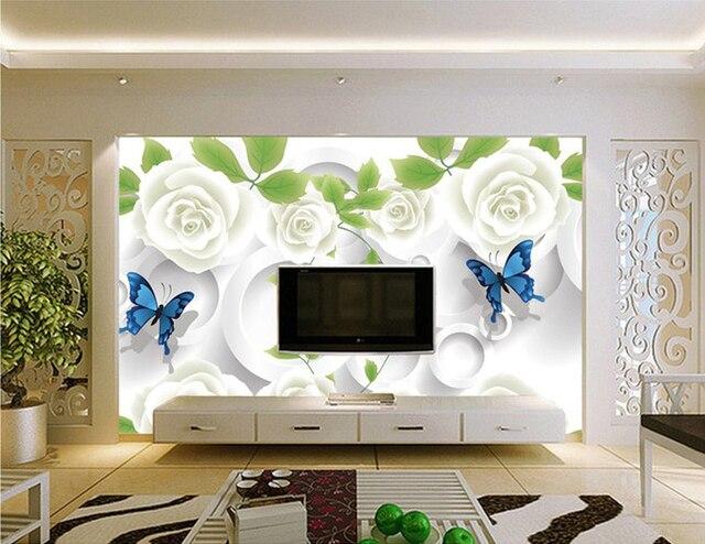 Carta Da Parati Rosa Bianca : Rosa bianca farfalla 3d stereoscopico cerchio pittura decorativa