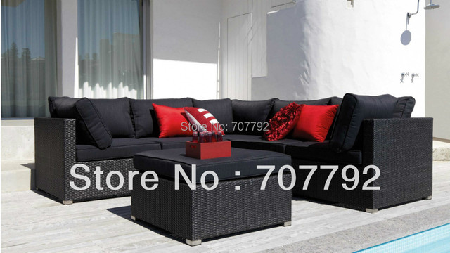 2014  New Style outdoor black rattan beach furniture