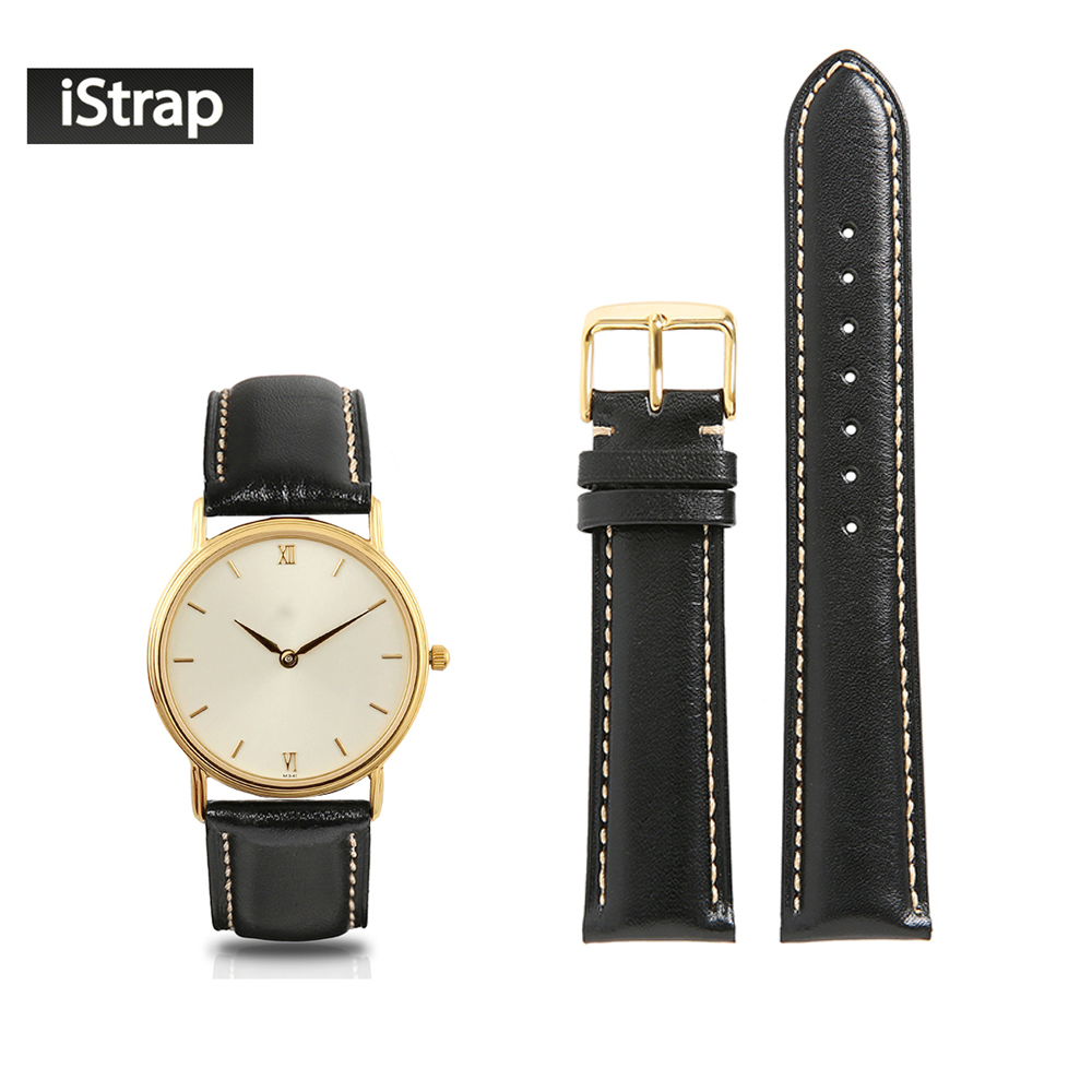 iStrap Watchband 18mm 19mm 20mm 21mm 22mm Genuine Leather Black Strap With Beige Stitch Golden Pin Buckle For Seiko Casio black blue gray red 18mm 20mm 22mm waterproof silicone watchband replacement sport ourdoor with pin buckle diving rubber strap