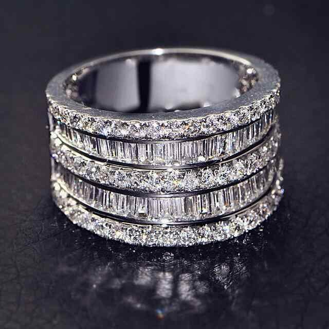 Big Zirkon Stein S925 Sterling Silber Farbe Band Ringe für Frauen Hochzeit Engagement Ringe Modeschmuck 2019 Heißer Verkauf