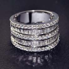 Большой камень циркон s925 стерлингового серебра Цвет кольца