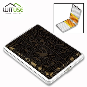 2019 Best selling Leather & Metal Cigarette Box hold 12 14 16 18 20 pcs Pouch Case Holder Tobacco Storage Container(China)