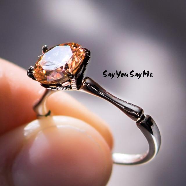 925 Sterling Silver Light coffee Zircon Rings Unisex Wedding Engagement Elegant