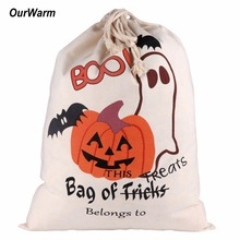 Ourwarm 10pcs Halloween Decoration Sack Cotton Canvas Halloween Bags Trick or Treat Bags with Pumpkin Spider Web Decoration