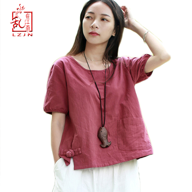 5397a5b575 LZJN 2019 Summer Tops Women Blouses Cotton Linen Red Shirt Traditional Chinese  Clothing Camisas Female Blusas Femininas PX1800