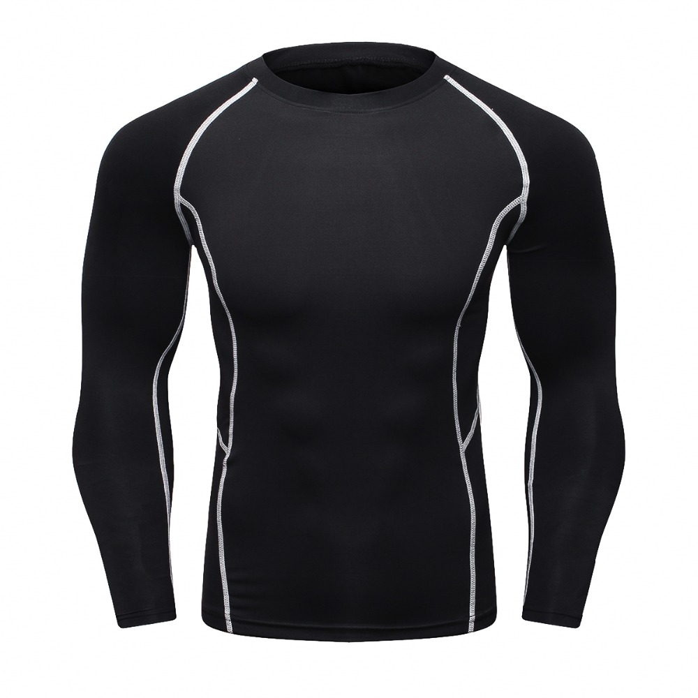 Mens Compression T Shirt Bodybuilding Skinny Tight Long Sleeve T-Shirt Fashion Clothing MMA Crossfit Workout Fitness Sportswear