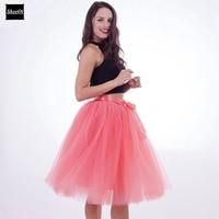 Best Quality 7 Layers Midi Tulle Skirt American Apparel Tutu Skirts Womens Petticoat Elastic Belt 2016