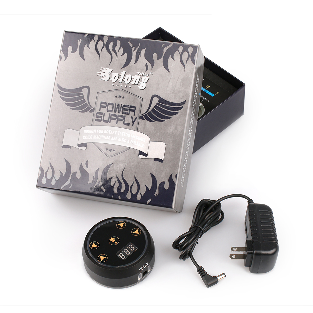 Stigma Digital Tattoo Machine Power Supply with Knob Adjustable Intelligent Light New P178 Black color 2-12V 5