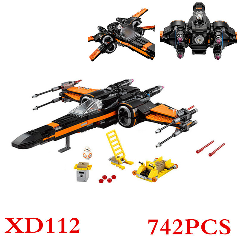 05004 742pcs Star Wars First Order Poe'S X-Wing Fighter Assembled Toy Building Block Compatible With 75102 Gift XD112 hot sale building blocks assembled star first wars order poe s x toys wing fighter compatible lepins educational toys diy gift