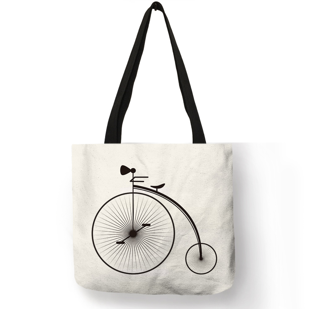 Unique Fresh Bicycle Style Female Shoulder Bag Travel Theme Letter Print Handbag Girl Students Portable Casual School Book Totes