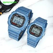 SANDA модные спортивные часы для пары водонепроницаемые повседневные светодиодный цифровые наручные часы с джинсовым узором с подсветкой EL Relogio Masculino
