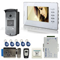 Wholesale New 7 inch Home Video Door Phone Intercom System 1 Monitor 1 RFID Reader Camera Electric Lock + Remote FREE SHIPPING