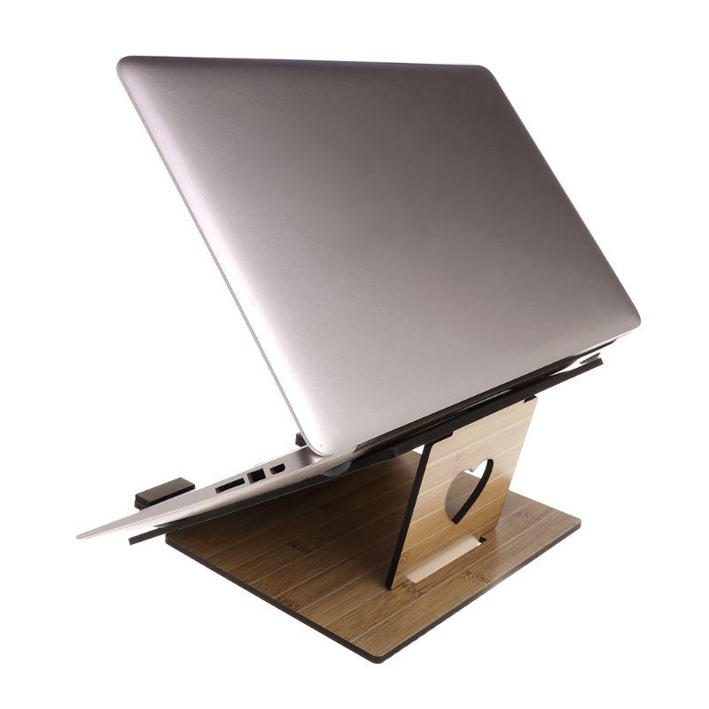 Laptop Stand Detachable Notebook Desktop Holder Adjustable Wooden Bracket Portable for App