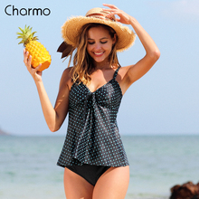 Charmo Women Tankini Set Swimwear Vintage Floral Print Swimsuit Padded Bathing Suit Beach Wear Two Pieces