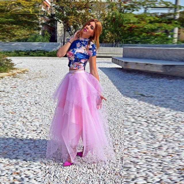 2017 Chique Na Moda Rosa Assimétrico Saias de Tule Ruffles Em Camadas Saia Tutu Longo Para Senhora Com Ribbon Bow Sash Zipper