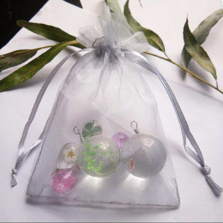 100 шт./лот серебристо-серая подарочная Сумка из органзы для ювелирных изделий 7x9 9x12 10x15 30x40 см Свадебная Рождественская упаковка сумки из нити