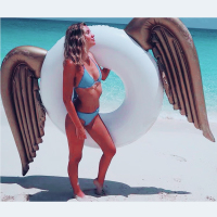 Newest Shiny Wings Inflatable Accessories Swimming Circle Adult Kids Floating Aid Inflatable Pool Float Circle for Adult Access
