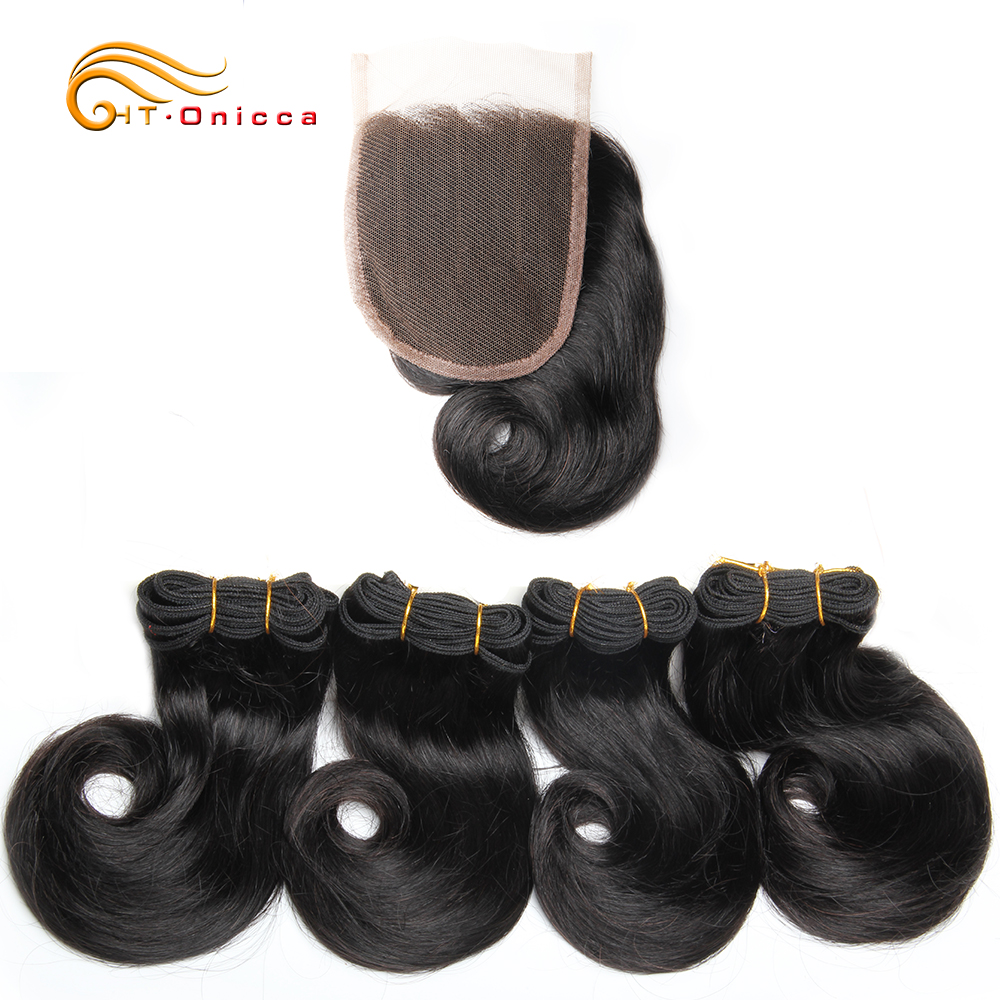 Onicca 45g/piece Funmi Hair Double Drawn Remy Hair 4 Bundles With Closure 100% Human Hair Bundles For Black Women Can Make A Wig