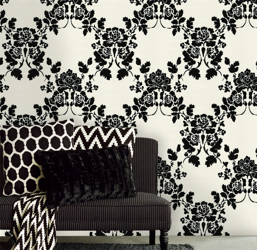 HaokHome Vintage Flower Damask Wallpaper Roll Self Adhesive White/Black Sticker for living room Bedroom Wall home decor