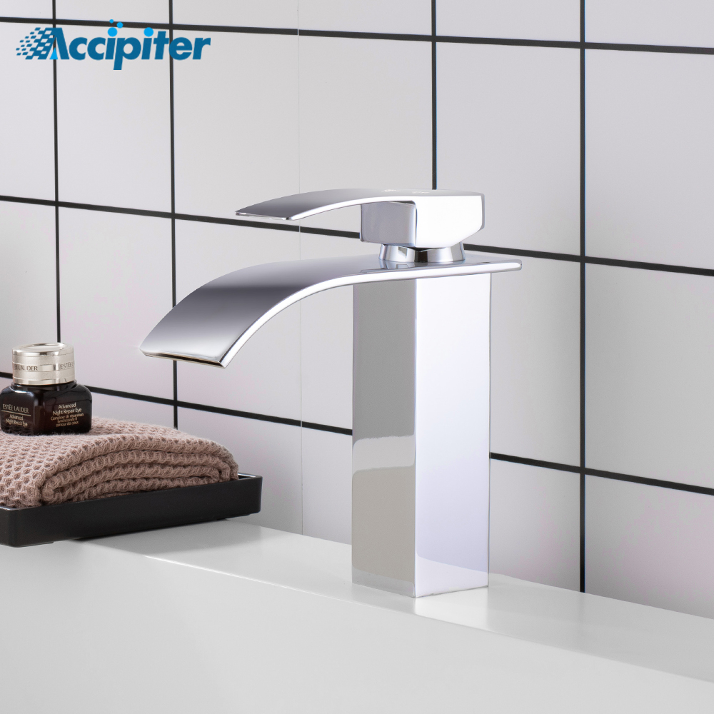 Torneiras de lavatório Cachoeira Torneira Do Banheiro Único punho Bacia Toque Mixer Guindaste Prata Banho de Bronze Antigo Torneira Da Pia de Água