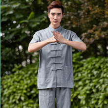 New Arrival Chinese Men Kung Fu Shirt Short Sleeve Kung Fu Cotton Linen Shirt Wu Shu Clothing Tops M L XL XXL XXXL W21