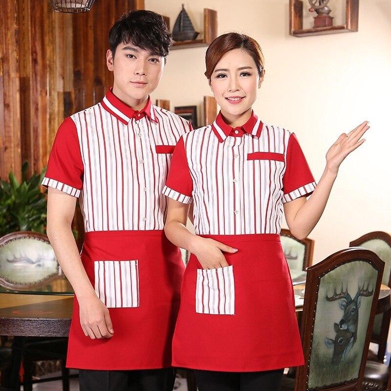 Hotel Restaurant Work Uniform Women's Waitress Short-sleeved Workwear Hot Pot Fast Food Shop Coat Overalls Waiter Shirt H2312
