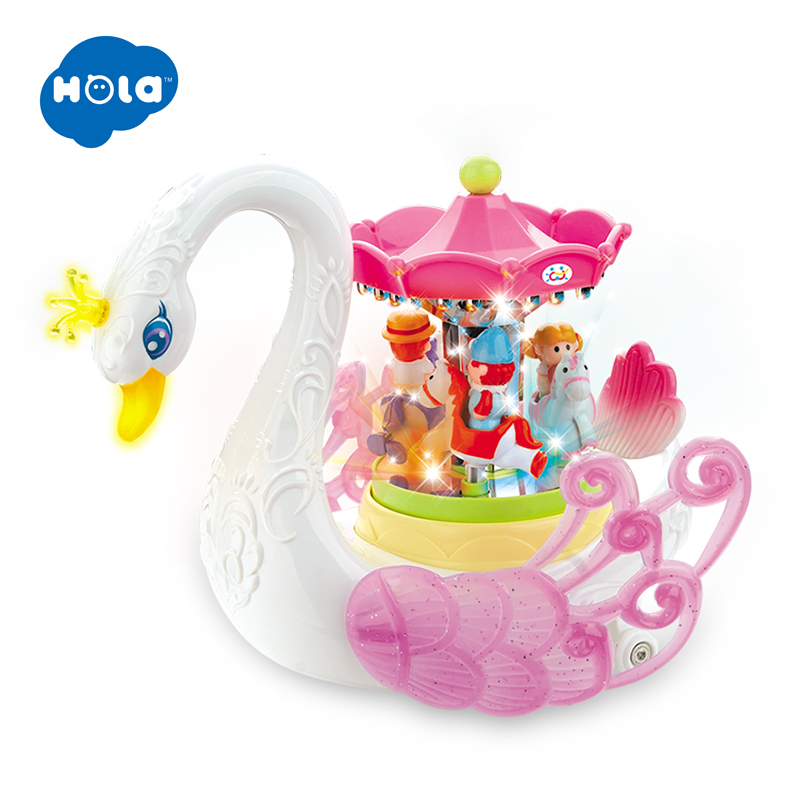 HOLA 536 Kids Electronic Pet Flashing Musical Cartoon Electric Universal Swan Carousel Musical Box Educational Toys For Children