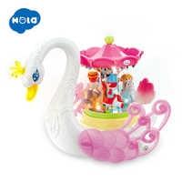 HOLA 536 Kids Electronic Pet Flashing Musical Cartoon Electric Universal Swan Carousel Musical Box Educational Toys for Children