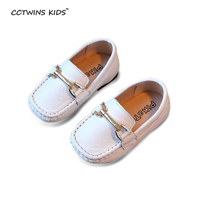 CCTWINS KIDS spring autumn fashion white moccasin for toddler children black flat pu leather shoe baby boy brand slip-on