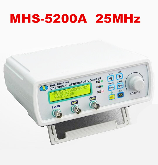 Digital DDS Dual-channel Signal MHS-5200A Source Generator Arbitrary Waveform Frequency Meter 25MHz for researching engineer mhs 5212p power high precision digital dual channel dds signal generator arbitrary waveform generator 6mhz amplifier 80khz