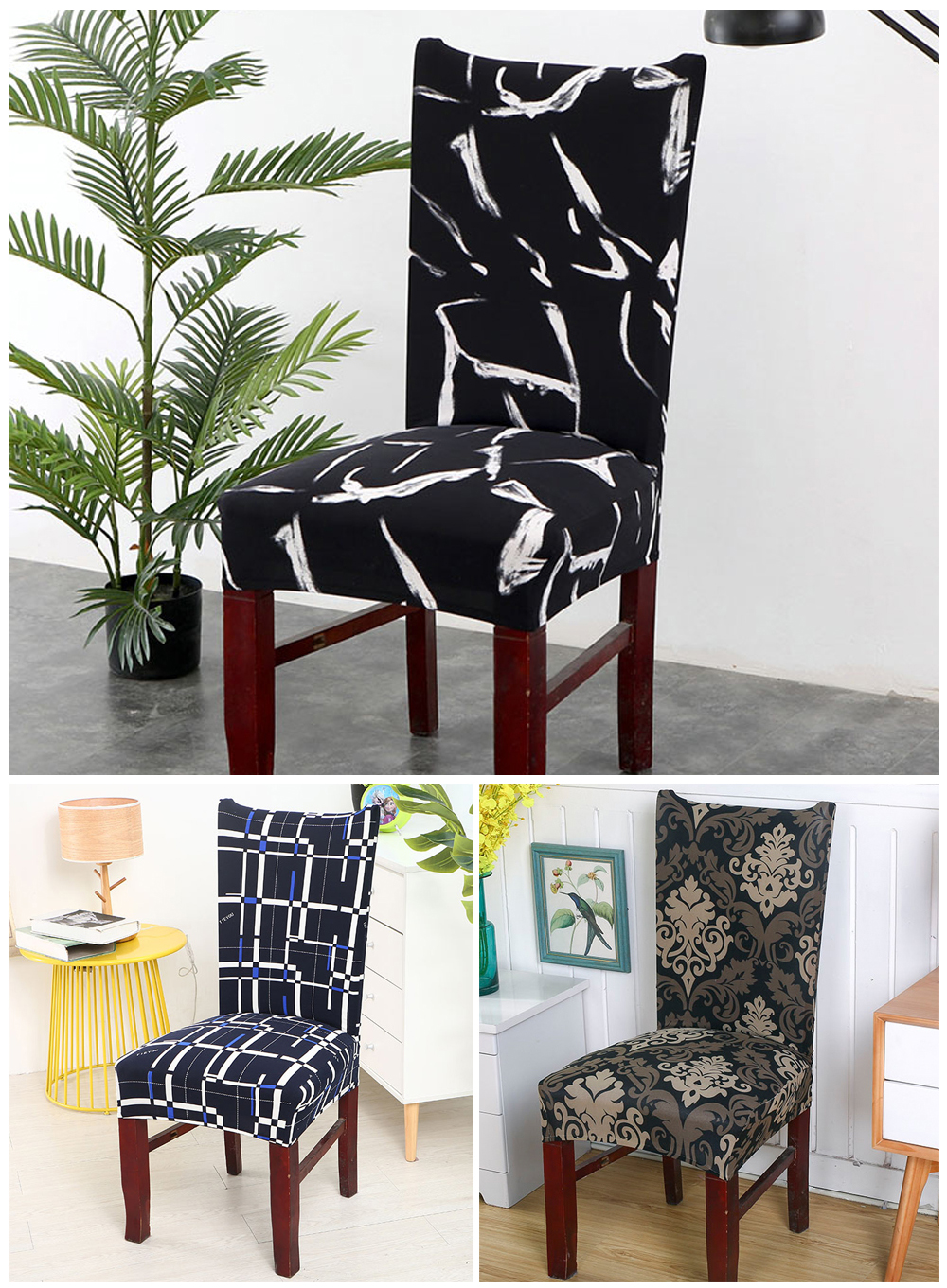 1246PCS Geometry Spandex Chair Cover Dining Washable slipcover for seat Elastic Kitchen Chair Covers Stretch Furniture Covers (5)